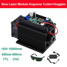 Focusable DIY 15w 450nm 15000mw Blue Laser Module CNC Fan TTL 12v With Goggles