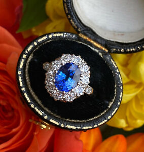 Victorian Sapphire and Diamond Cluster Platinum Ring 0.90ct + 2.0ct