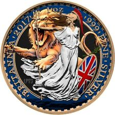2017 1 Oz Silver £2 UK LION AND BRITANNIA Coin WITH 24K Gold.