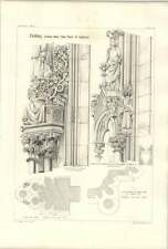 1858 Freiburg Details From West Porch Of Cathedral