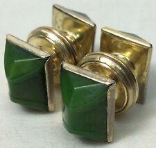Vintage Kum-A-Part Green Gold Tone Deco Patt. 1923 Snaps Cufflinks (CL43)