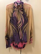 Rhythmic Gymnastics Competition leotard, Purple-pink, Swarovski.Preowned.