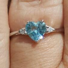 .925 Sterling Silver Ring CZ Heart Kids Ladies Midi size 3-12 Aquamarine New