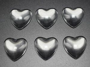 50 Transparent Clear Love Heart Dome Flatback Glass Cabochon 16mm