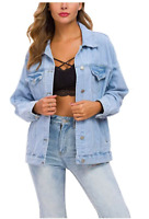 TSHER Womens Oversize Vintage Washed Denim/Jean L/S Jacket Sz XL - Pale Blue