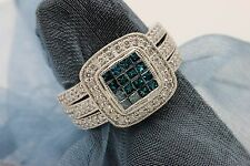 Estate Pave BLUE and Clear Diamond 14k White Gold Ring Square Shape 0.75 TCW s5