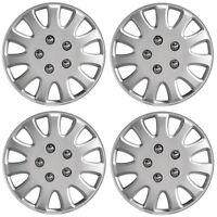 "Ikon 13"" Car Wheel Trims Hub Caps Plastic Covers Set of 4 Silver Universal"