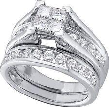 New Ladies Designer 10k Ladies White Gold Princess Diamond Wedding Ring Set