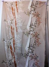"""Asian Floral Silk? Fabric Clothing Decor 44"""" Wide Over 8 Yards Tan Rust Gold"""