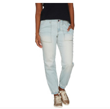 NEW Peace Love World Denim Jogger with Zip Front Closure BLEACHED DENIM Size 8