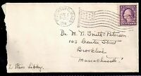 1918 Fitchburg, Massachusetts to Brookline, Mass - Flag Cancel - WWI Rate