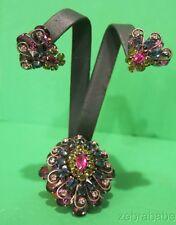 Vintage Schreiner Pin Brooch Ear Clips Demi Parure DOME Multi Color Stones