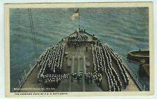 Forward Deck of a U.S. Battleship Postcard US Navy Sailors