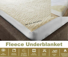 Fleece Mattress Protector Warm Under Blanket Fitted Topper Extra Deep Bed Cover