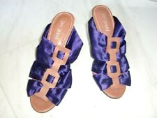 NWOB~JON JOSEF~PURPLE SATIN/BROWN LEATHER SLIP-0N Sandals Heels Shoes Size 7.5M