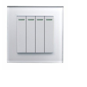 RetroTouch 4 Gang 1 or 2 Way 10A Rocker Light Switch White Glass PG 00252