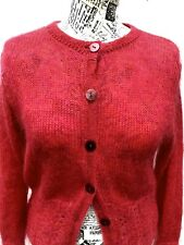 LAURA ASHLEY Cute Women's Pink Mohair Cropped Short Cardigan, Size 10