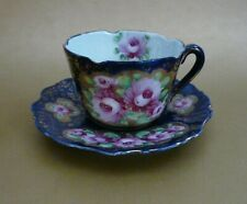 Nippon Gold Moriage 'Roses' Cobalt Blue Cup & Saucer~Hand Signed