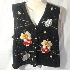 Bobbie Brooks Ugly Christmas Sweater Vest, Vintage, Angels, Glitter, Bells