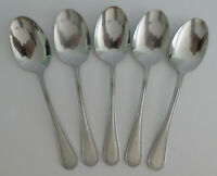 "Wallace Continental Bead 18/10 Stainless SOUP SPOONS Oval Flatware 7 5/8"" Lot 5"
