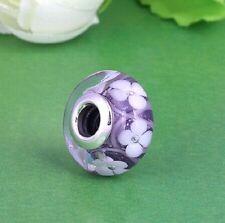 PURPLE FLOWERS MURANO .925 Sterling Silver European Charm Bead MUR2