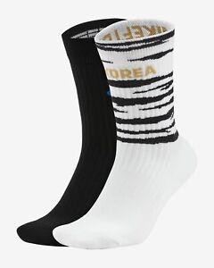 (2 Pair) Nike Korea SNKR Crew Socks CU7198-902 Multi-color White Black Sport Gym