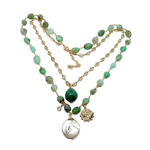 2 Strands Green Chrysoprase Chain Necklace Coin Pearl Malachite Charm