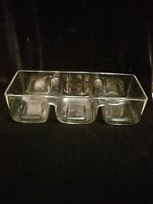 "Art Glass Clear Glass Decorative Rectangular tri-sectioned Serving Bowl, 12""x4"""