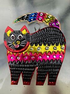 Wall Art Mexican Handmade Painted Tin Ornaments Rainbow Cats Set of 3 4x4.5 B