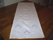 Vintage Table Runner/Dresser Scarf with Embroidered Floral Wreath