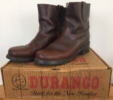Vtg Durango Biker Ankle Western Campus Brown Leather Motorcycle Boots 12D 46.5