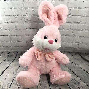 "Dan Dee Large Easter Bunny Rabbit Plush Stuffed Pink White 26"" Polka Dot Bowtie"