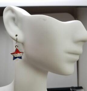 Americana Patriotic Star Dangle Earrings Red Silver Blue USA Flag Cezanne