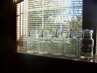 5 vintage Atlas E-Z Seal wire bail glass quart canning jars