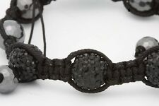 Beautiful Style Macrame Beaded Bracelet with Alloy Disco Beads and Black Pearls