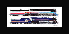 "American Freedom Train 4449/1 10""x17"" print in 10""x20"" Mat Andy Fletcher signed"