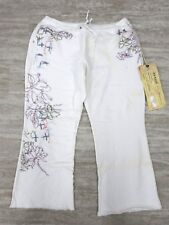 NEW Da-Nang Women's Casual Capri Pants Hip Drawstring WHITE FTG17401026Z MEDIUM
