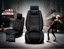 5 Seat Car PU Leather Universal Seat Cover Front+Rear Full Set Plaid w/Pillow