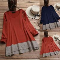 Women Plus Size O-Neck Solid Color Lace Patchwork Long Sleeve Top T-Shirt Blouse