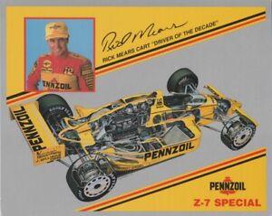 1990 Rick Mears Pennzoil Z-7 Special Chevy Penske Indy Car postcard