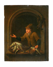 Antique Flemish Old Master oil on panel painting,attr. Louis de Moni(signed)