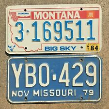 Lot of 2 vintage license plate plates- 1984 Montana Bicentennial + 1979 Missouri