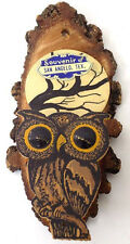 Vintage Souvenir Halloween Owl Wall Pocket Match Holder Made of Blackjack Wood
