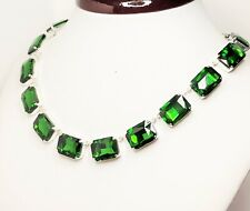 Emerald Rhinestone Crystal Silver Plated Necklace Georgian Collet Women Gift Box