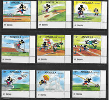 ANGUILLA ,1984 OLYMPICS, DISNEY, SPORTS , SET OF 9 STAMPS , MNH , CV$14.50