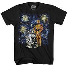 Starry Night R2-D2 C-3PO R2D2 Van Gogh Adult Men's Graphic Tee Apparel T-Shirt