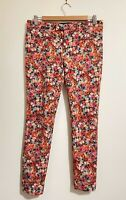Zara Floral Pants Size M 12 Mid Rise Crop Ankle Tapered Stretch Black Coral NEW