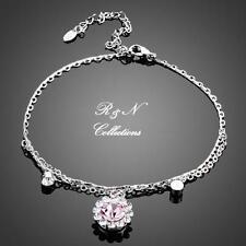 Platinum Plated Pink Flower with Swarovski Austrian Crystal Charm Bracelet B626