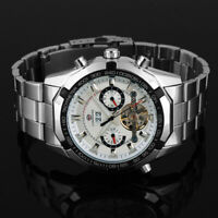 Mens Watch Automatic White Dial Stainless Steel Case Tourbillon Date Week Luxury
