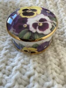 Albertine China Trinket Box Pansy Design
